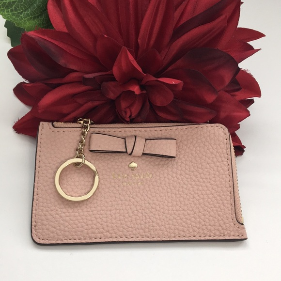 Kate Spade pershing street poppy Card Case Coin Purse Key Fob Pouch Wallet ~NWT~